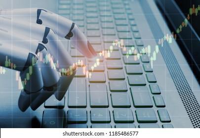 Robot business concept market analysis graph,robot hand pressing computer keyboard enter