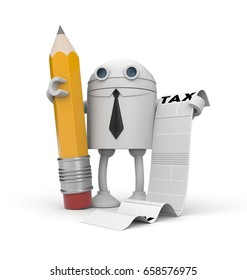 The robot businessman and taxation list. 3d illustration