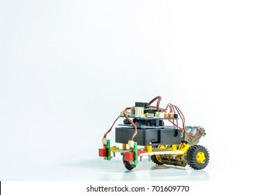 The robot car follows the line.