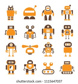 robot character icons orange color theme