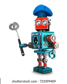 Robot Chef. 3D illustration. Isolated. Contains clipping path.