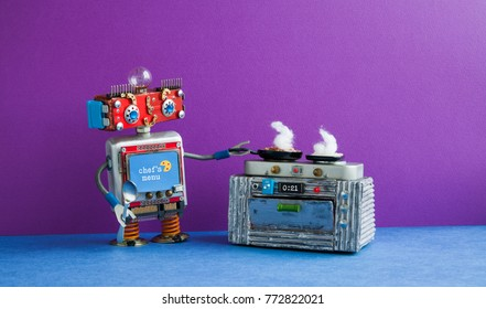 Robot chef preparing meal frying pan, electronic stove oven. Creative design toys, automation robotic future smart home concept. Violet wall blue floor background.