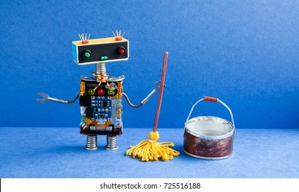 Robot cleaner with yellow mop, bucket of water, sweeping floor. Cleaning washing room service concept. Creative design toy cyborg in blue apartment.