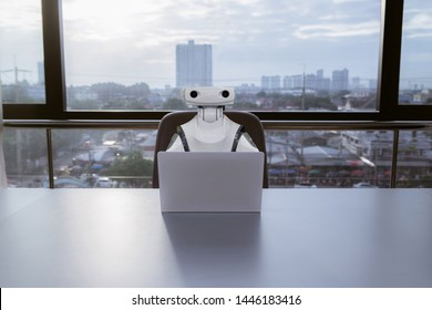 Robot computers in the office Business RPA Robotic Process Automation
