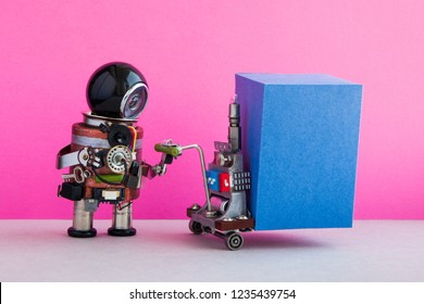 Robot courier moving big blue box container pushcart. Pink wall, gray floor background.