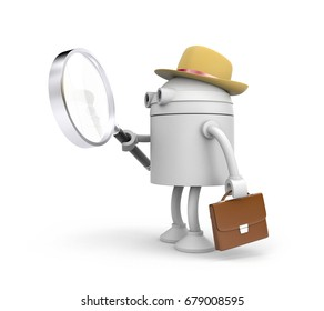 Robot detective. Robot holding and looks through magnify glass. 3d illustration