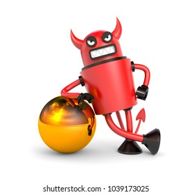 Robot DEVIL with gold ball. From the life of robots. 3d illustration