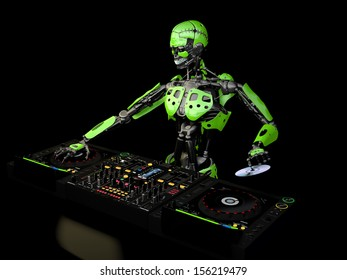 Robot DJ - A robot DJ with green panels holding a CD. Turntables and mixers.