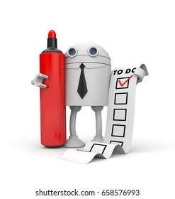 Robot and TO DO list. Checklist metaphor. 3d illustration
