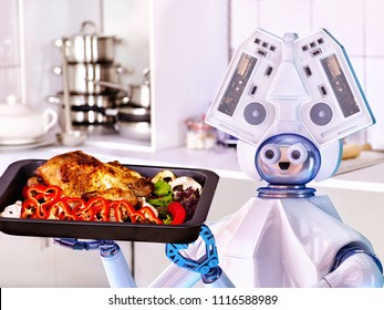 Robot domestic assistance cook chicken at kitchen and deliver food . Artificial intelligence help people with housework cooked to diners.