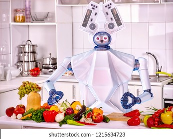 Robot domestic household assistance cook vegetarian food at kitchen. Artificial intelligence helper help people with housework cooked food.