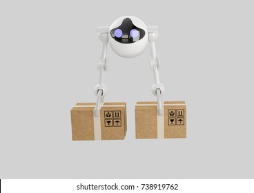 robot drone carrying box, 3d rendering