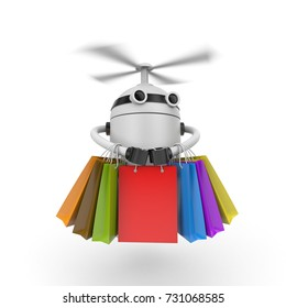 Robot drone with shopping bags. 3d illustration
