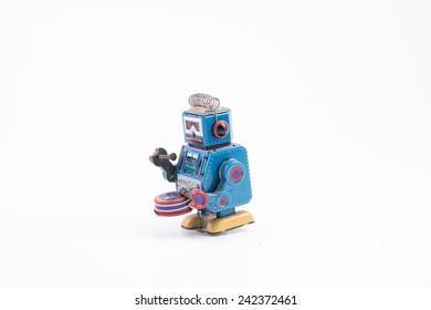 robot drum against white background