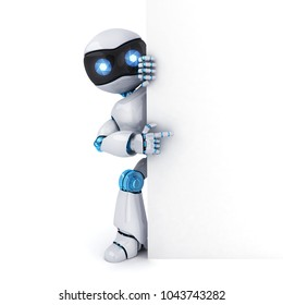Robot and empty white blank. 3d illustration