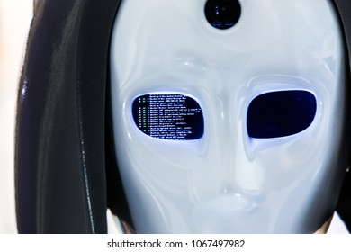 Robot face with system error Blue Screen of Death in the eye