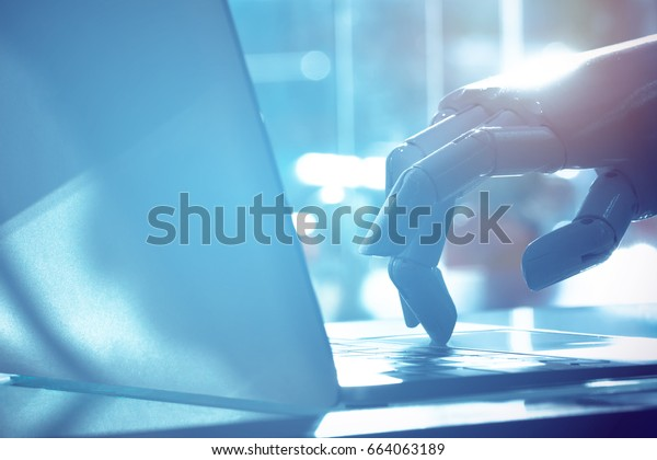 Robot finger point to laptop button with blue tone image. Chat bot , artificial intelligence , robo advisor , robotic concept.