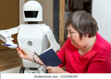 Robot friend is learning or teaching with an mentally disabled woman, reaching her a pencil