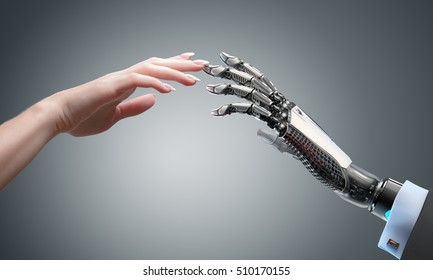 Robot gives a hand to a woman. Two hands touching each other. Artificial intelligence conceptual business design