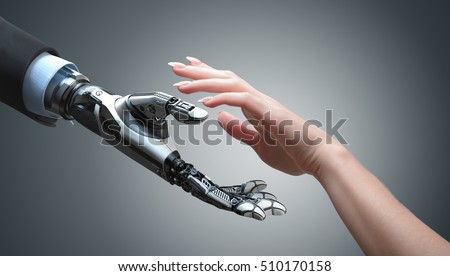 Robot gives a hand to a woman. Two hands in offer position. Artificial intelligence conceptual business design