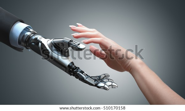 Roboter gibt einer Frau die Hand. Zwei Hände in Angebotsposition. Konzeptionelles Geschäftsdesign künstlicher Intelligenz