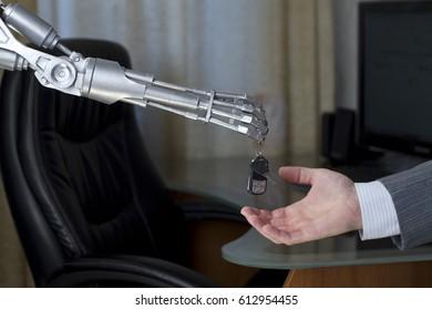 Robot gives a man a car key