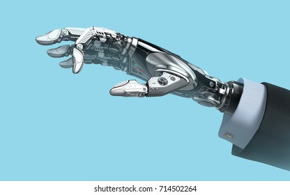 Robot hand in business suit with fingers holding empy space futuristic design template. 3d rendering