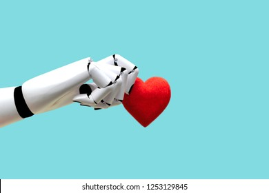 Robot hand holding heart Medical Technology Future Power