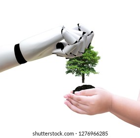 Robot hand holding a tree technology and environment put it into the hands of children