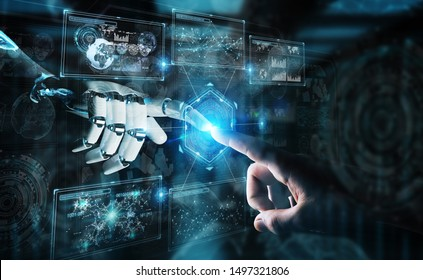 Robot hand and human hand touching digital graph interface on dark background 3D rendering