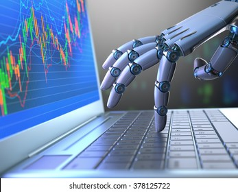 Robot hand, ordering on a laptop keyboard, an exchange trade. Robot trading system is a computer trading program that automatically submits trades to an exchange without any human interventions.