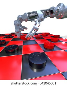 Robot hand playing a game of checkers (draughts), 3D rendering. 64 square, English or Russian board with traditional black and red squares. Representing the blending of tradition and technology.