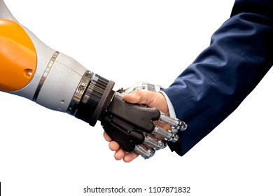 Robot hand shaking human hand isolated on white background
