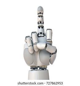 Robot hand showing middle finger 3d rendering