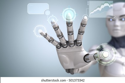 Robot hand touches Sci-Fi interface. 3D illustration