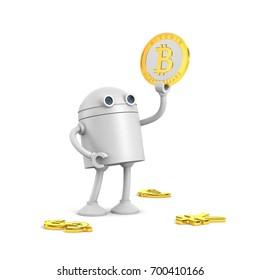 Robot hold bitcoin. 3d illustration