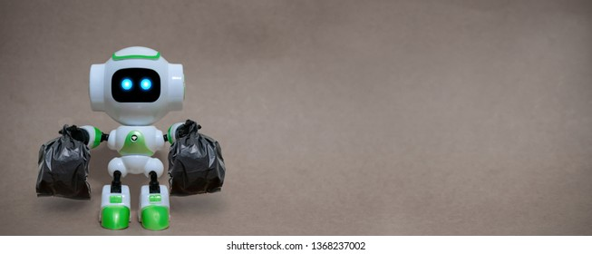 Robot hold garbage bags technology recycle environment on a gray background
