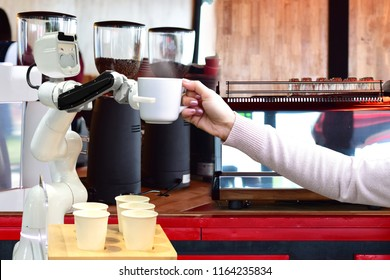 Robot hold hot coffee drinks to people work instead of man future 4.0 technology