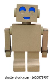 Robot homemade craft toy made of cardboard isolated on white background
