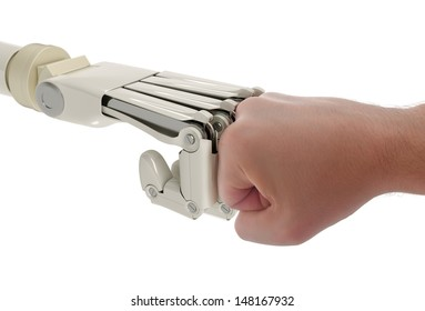 Robot and human fists touching