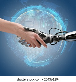 Robot and human handshake. Cyber communication design concept.