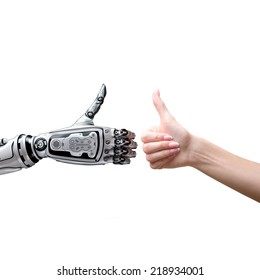 Robot and human thumbs up
