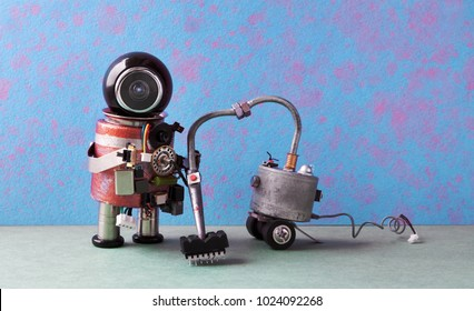 Robot janitor vacuuming. Cleaner machine creative design robotic android cleaning home, blue pink green apartment interior