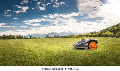 Robot lawn mower on a large lawn