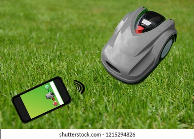 Robot lawn mower on a manicured green lawn. Control with the smartphone
