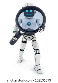 Robot and lens on white background (done in 3d)