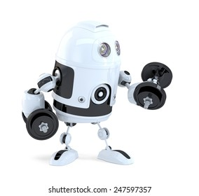 Robot lifting dumbbells. Technology concept. Isolated over white. Contains clipping path