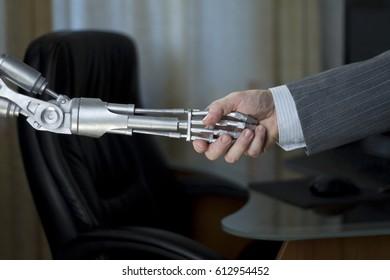 Robot man handshake
