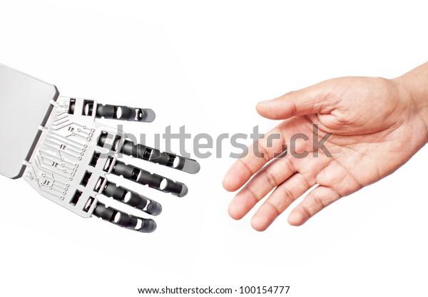 Robot and man handshake