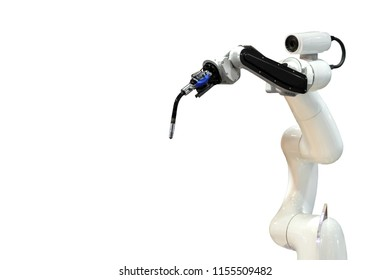 Robot mechanical arm and camera in the future, work instead of man white background
